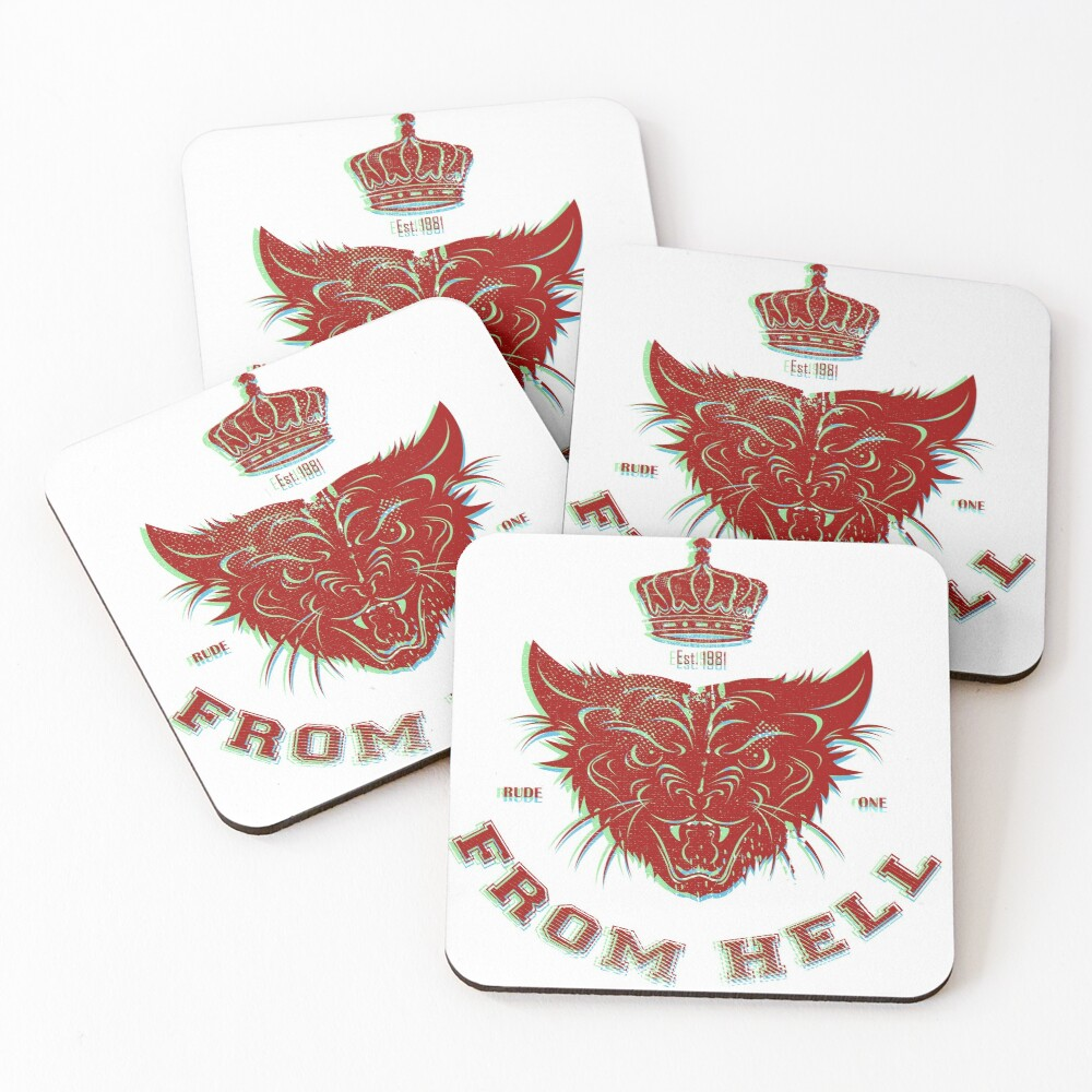 Pussy From Hell - stencil - offset Red Coasters (Set of 4)