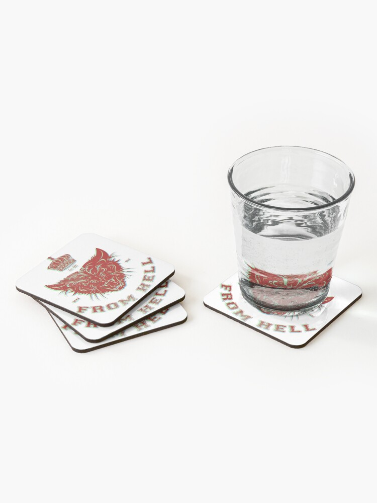 Alternate view of Pussy From Hell - stencil - offset Red Coasters (Set of 4)