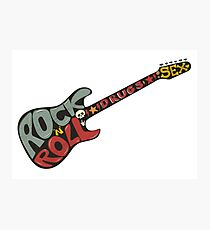 """Rock n roll"" vintage poster. Rock and Roll guitar logo in retro style Photographic Print"