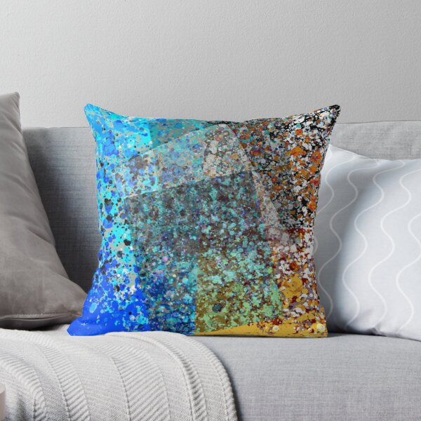 Ocean Notes - Abstract Digital Painting Wall Art Colorful Geometric Art Throw Pillow