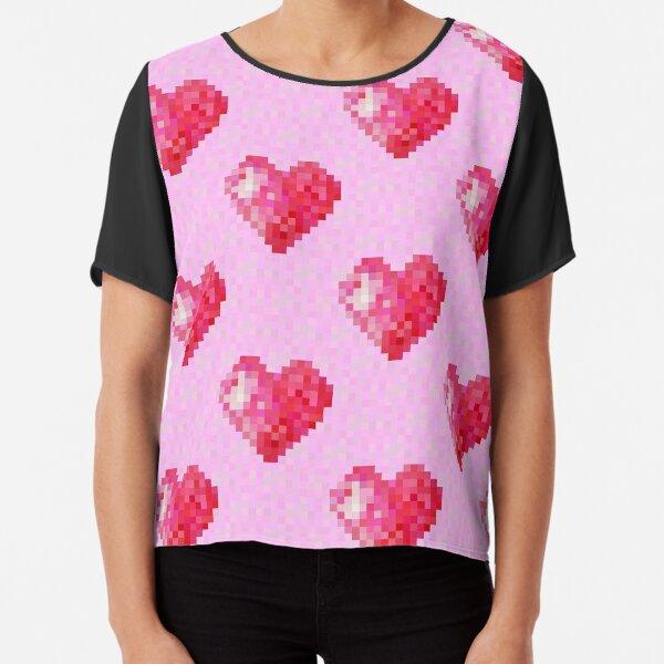 Pink Pixel Hearts Chiffon Top