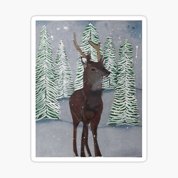 Stag in the snow Sticker