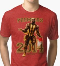 'The Mighty Premiers From Hawthorn' 2014 Print By Grange Wallis Tri-blend T-Shirt