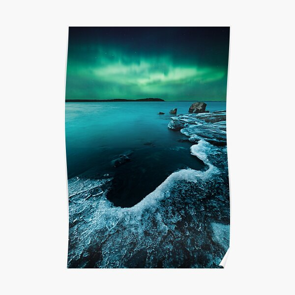 Ice on the lake shore and northern lights landscape Poster