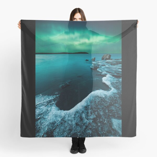Ice on the lake shore and northern lights landscape Scarf