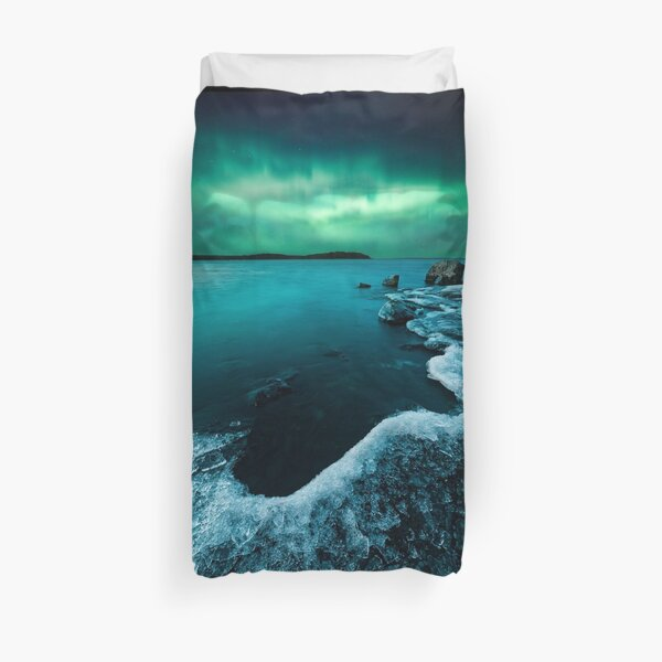 Ice on the lake shore and northern lights landscape Duvet Cover