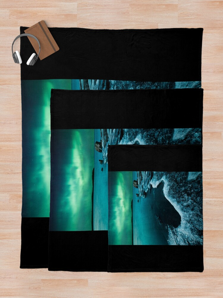 Alternate view of Ice on the lake shore and northern lights landscape Throw Blanket