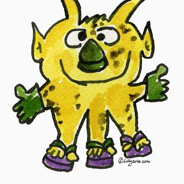 Funny Cartoon Monstar Monster 003 by Lillyarts