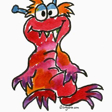 Funny Cartoon Monstar Monster 004 by Lillyarts