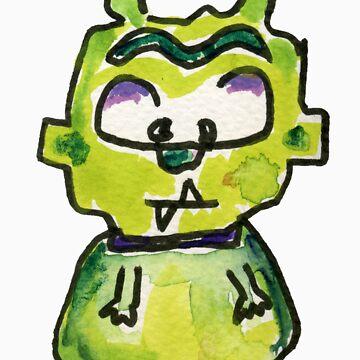 Funny Cartoon Monstar Monster 007 by Lillyarts