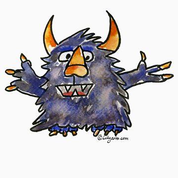 Funny Cartoon Monstar Monster 008 by Lillyarts