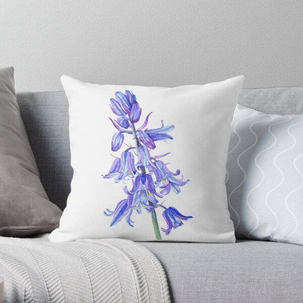 Bluebell flowers watercolour Throw Pillow