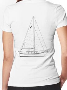 Dana 24 sail plan T shirt (printed on BACK) Women's Fitted V-Neck T-Shirt