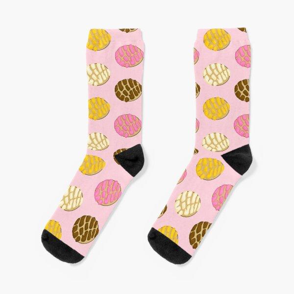 Latinx Concha Mexican Bread Pan Dulce Pink Socks