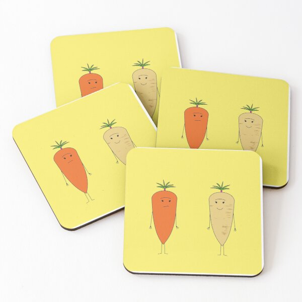 Carrot and Parsnip Coasters (Set of 4)