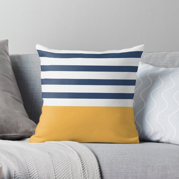 Blue and white stripes with yellow Throw Pillow