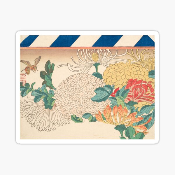 Chrysanthemum Design by Utagawa Hiroshige,1840 Sticker