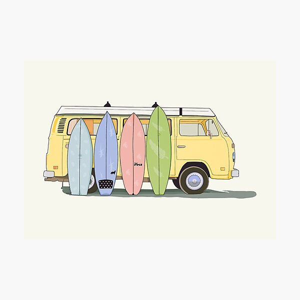 Aesthetic yellow van with surfboards   Photographic Print