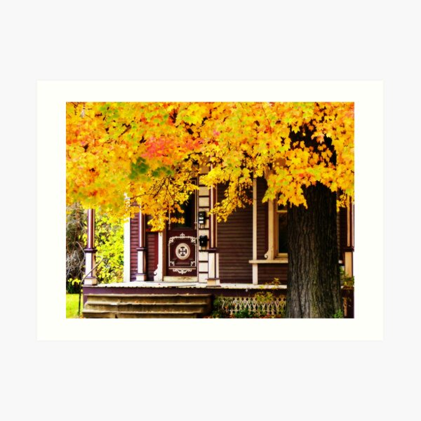 Fall Canopy Over Victorian Porch Art Print