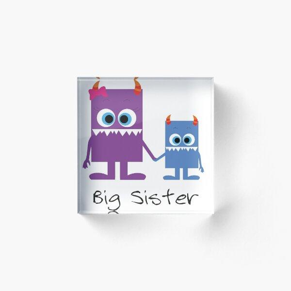 süße Monster Geschwister, big sister Acrylblock