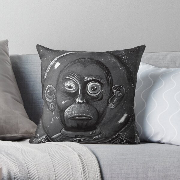 Space Mokey With Astronaut Helmet Throw Pillow