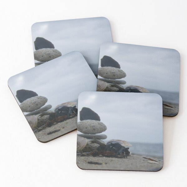 Closeup stone stacking on the beach Coasters (Set of 4)