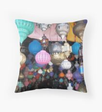 Beautiful Moroccan Lamps Hanging In The Marrakech Souk Throw Pillow