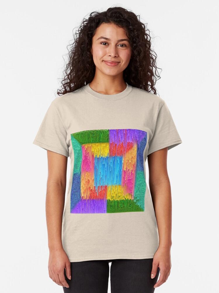 Alternate view of DeepDream Color Squares Visual Areas + pixel sort Classic T-Shirt