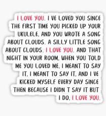 i love you speech HSMTMTS Sticker