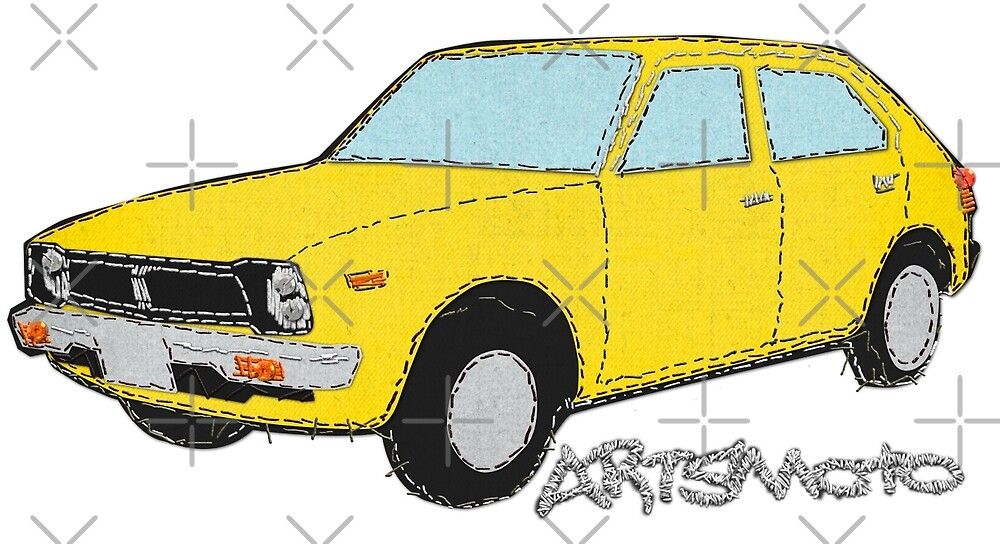 Stitched Yellow Vintage Honda Civic On Denim by Tom Mayer