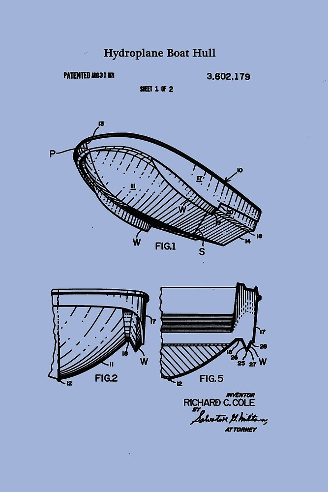 1971 Hydroplane Boat Hull Patent by Barry  Jones