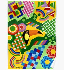 Colors And Shapes With Squars - Toekan - Brush And Gouache Poster