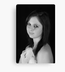 Zoe in Portrait B&W Canvas Print