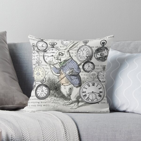 White Rabbit Alice in Wonderland Watches Time Throw Pillow
