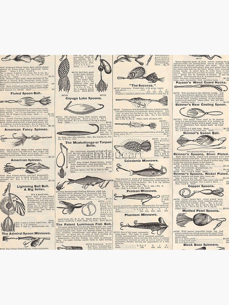Fishing Lures Vintage Newsprint Advertising Antique by antiqueart