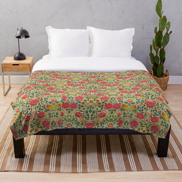 Rose Chintz William Morris Vintage Pattern Throw Blanket