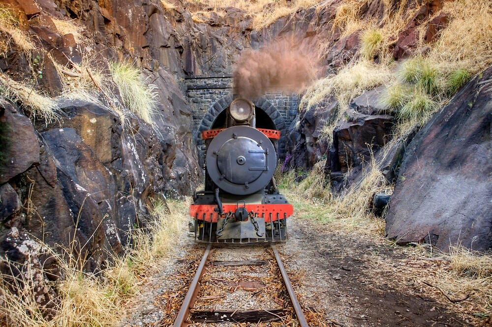 Steam train exiting Swan view tunnel by Marc Russo
