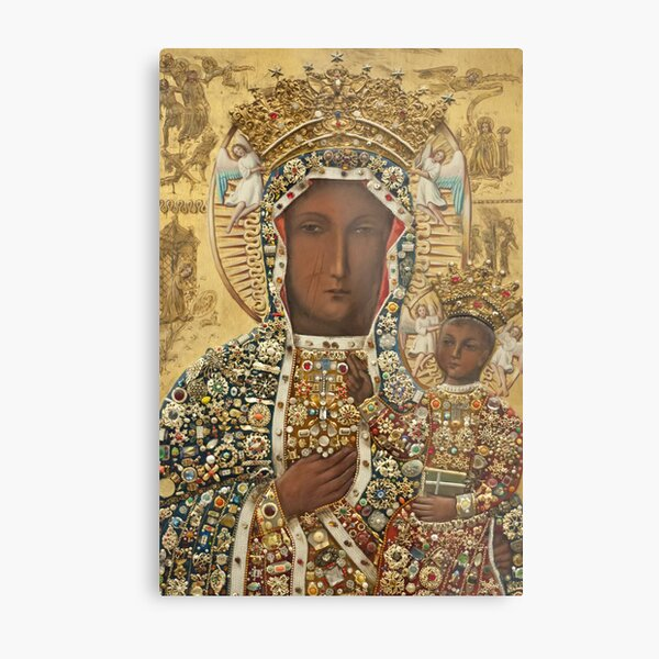 Our Lady of Czestochowa Bejeweled Picture Metal Print