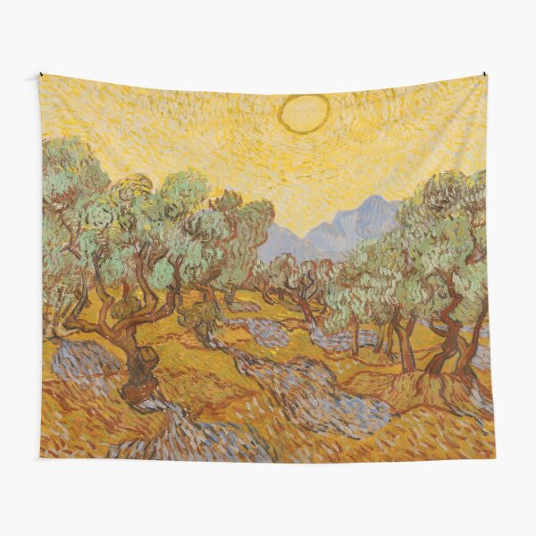 Vincent Van Gogh Olive Trees with Yellow Sky and Sun Tapestry