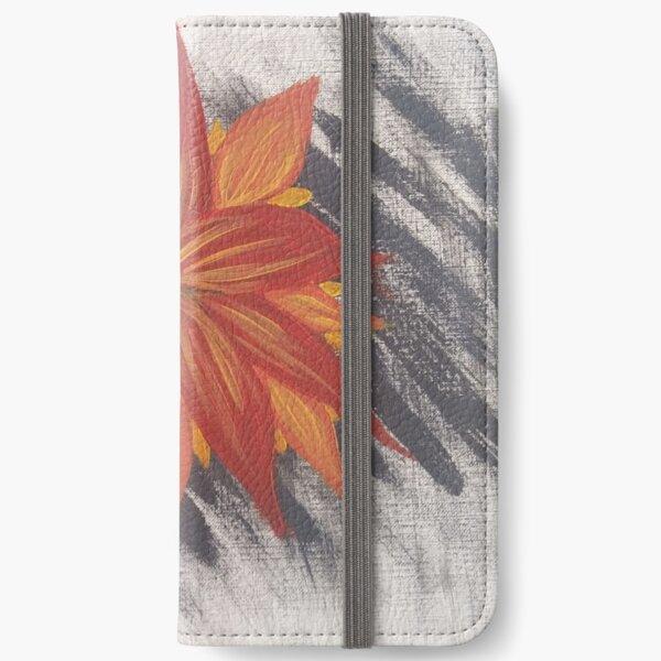 Orange Flower on Gray iPhone Wallet