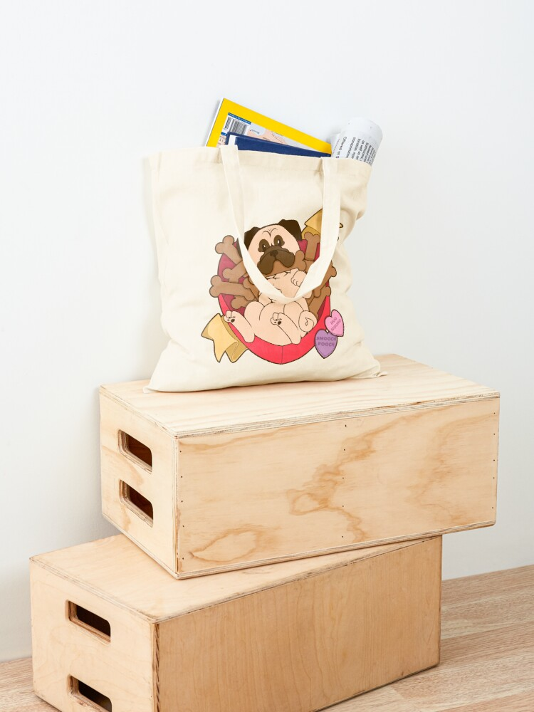 Alternate view of Valentines Box of Chocolates — Fawn Pug Tote Bag