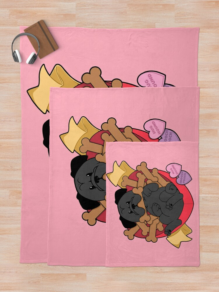 Alternate view of Valentines Box of Chocolates — Black Pug Throw Blanket