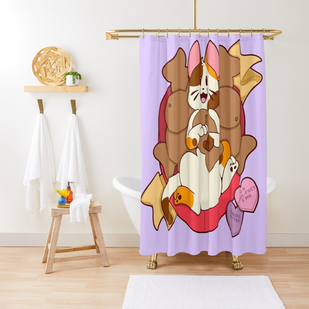 Valentines Box of Chocolates —Calico Shower Curtain