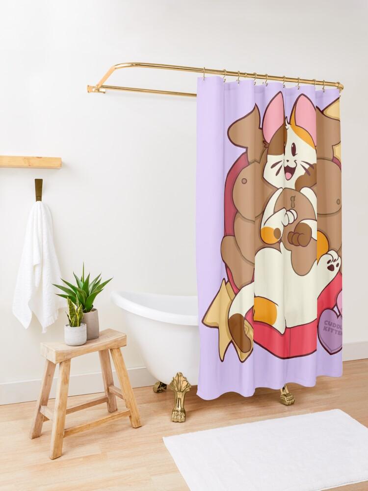 Alternate view of Valentines Box of Chocolates —Calico Shower Curtain