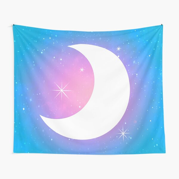 Pastel Crescent Moon with Stars Tapestry