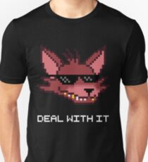 Five Nights at Freddy's - FNAF - Foxy - Deal With It (White Font) Unisex T-Shirt
