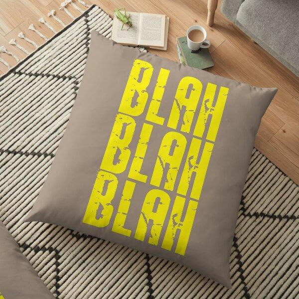 Blah Blah Blah print - Bright Yellow Floor Pillow