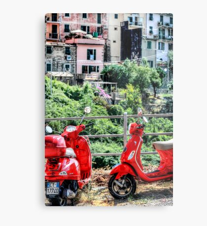 2 Red Scooters Metal Print
