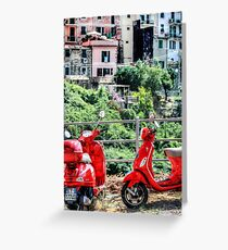 2 Red Scooters Greeting Card