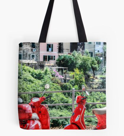 2 Red Scooters Tote Bag